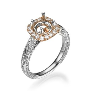 18K Two-Tone Vintage Halo Engagement Ring Mounting