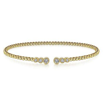 14K Yellow Gold Bujukan Bead Cuff Bracelet with Bezel Set Diamonds