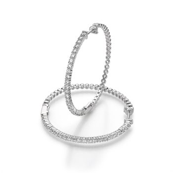 Diamond Prong Hoop Earrings