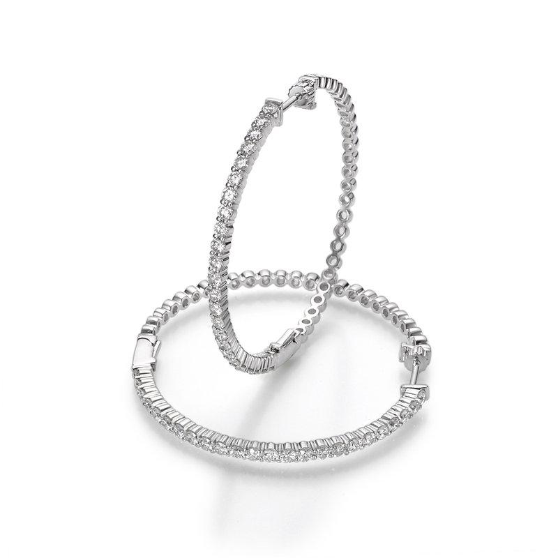 Diamond Prong Hoop Earrings