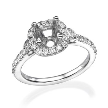 18K White Gold Three-Stone Halo Engagement Ring Mounting