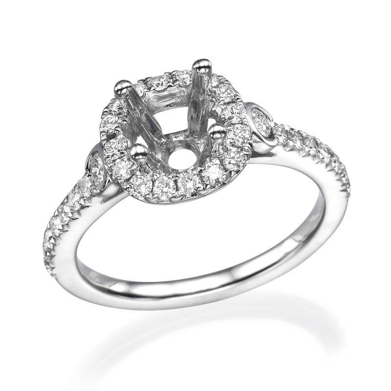 18K White Gold Three-Stone Halo Engagement Ring Mounting