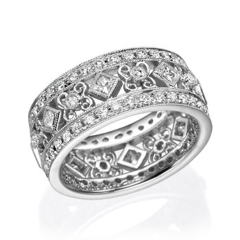 18K White Gold Vintage Diamond Fashion Ring