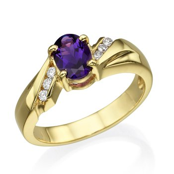 14K Yellow Gold Amethyst Fashion Ring