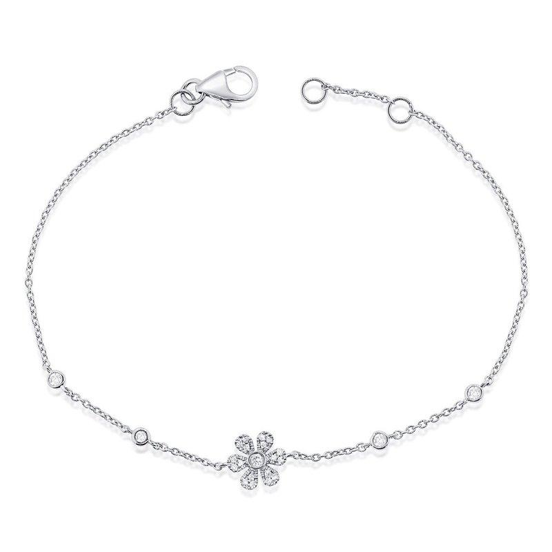 14K Gold Diamond Flower Bracelet