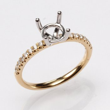 18K Yellow Gold .17Ctw Diamond Mounting