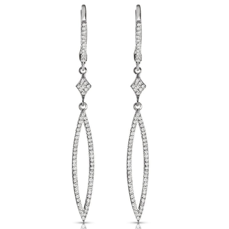 14K Diamond Geometric Dangle Earrings