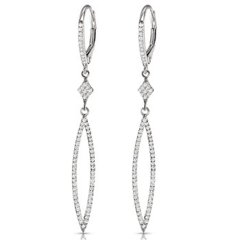 14K Diamond Geometric Dangle Earrings