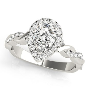 Alternating Diamond Twist Pear Halo Engagement Ring Mounting