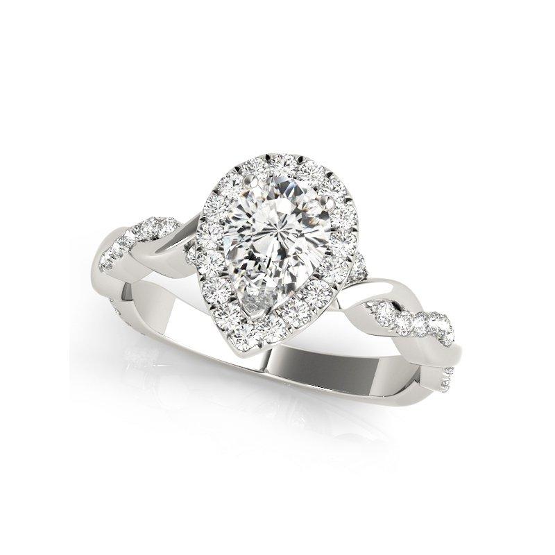 Alternating Diamond Twist Pear Halo Engagement Ring Mounting