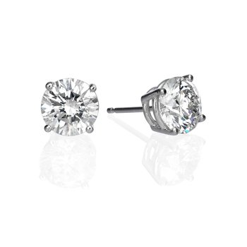 14K White Gold 3.07ctw Round Diamond Stud