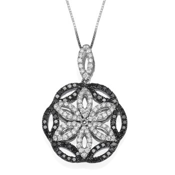 18K White Gold Reversible Black White Diamond Pendant