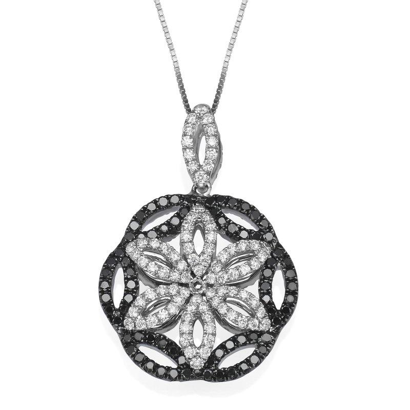 18K White Gold Reversible Black White Diamond Pendant