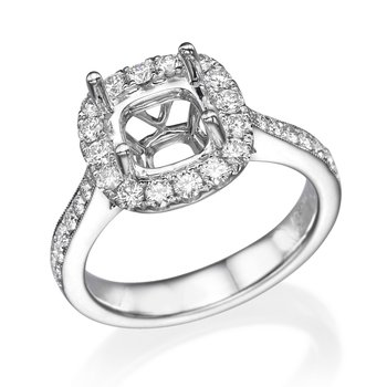 18K White Gold .61Ctw Diamond Mounting