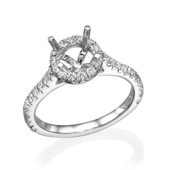 18K White Gold .50Ctw Diamond Halo Mounting