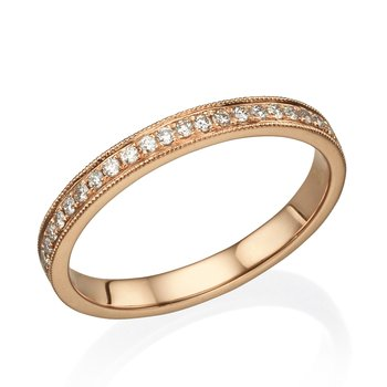 Milgrain Prong Set Wedding Band