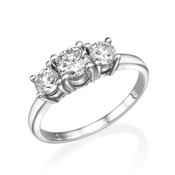 14K White Gold Classic Three-Stone Engagement Ring