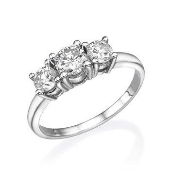 14K White Gold Classic Three-Stone Engagement Ring