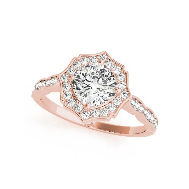 Vintage Scalloped Halo Engagement Ring