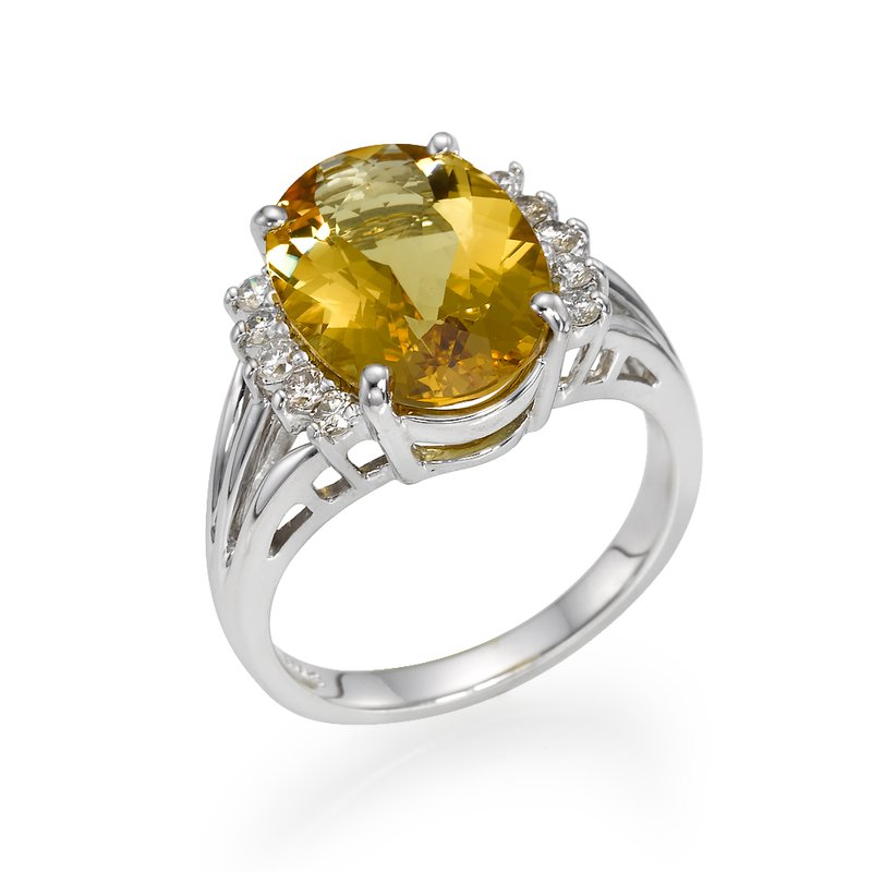 14K Citrine And Diamond Ring