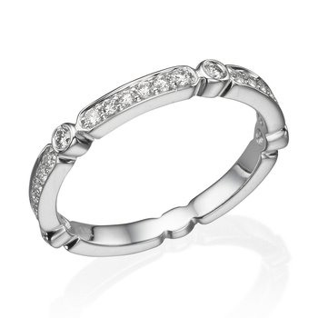 14K White Gold .27Ctw Diamond Wedding Band