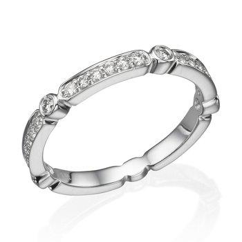 14K White Gold .27Ctw Diamond Wedding Band