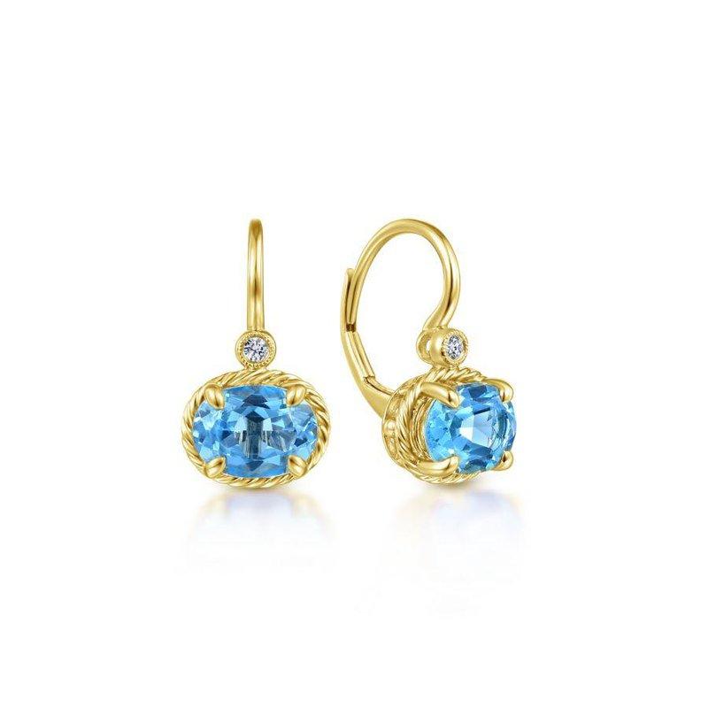 14K Yellow Gold Blue Topaz Dangle Earrings