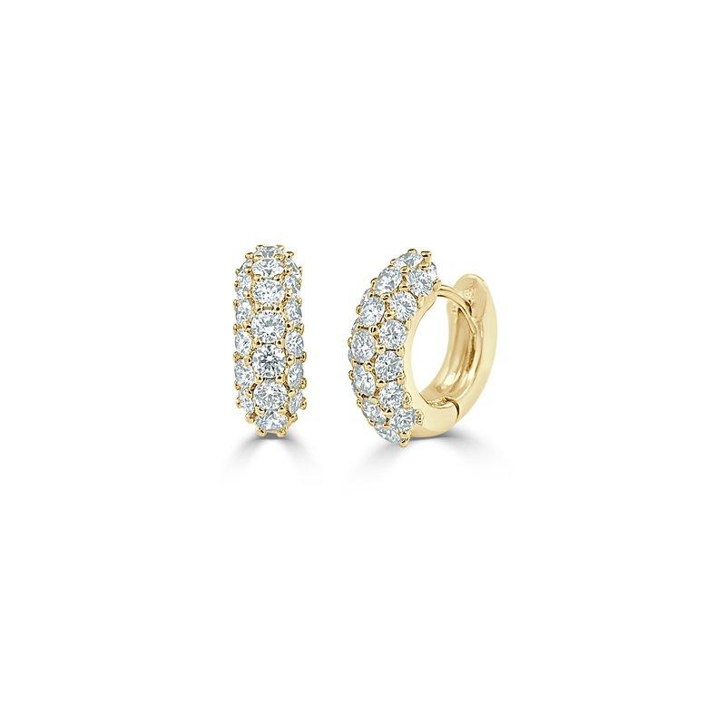 14K Gold Pave Diamond  Huggies