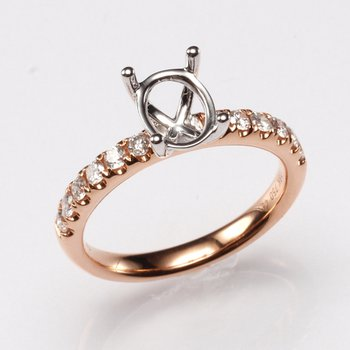 18K Rose Gold .39Ctw Diamond Mounting