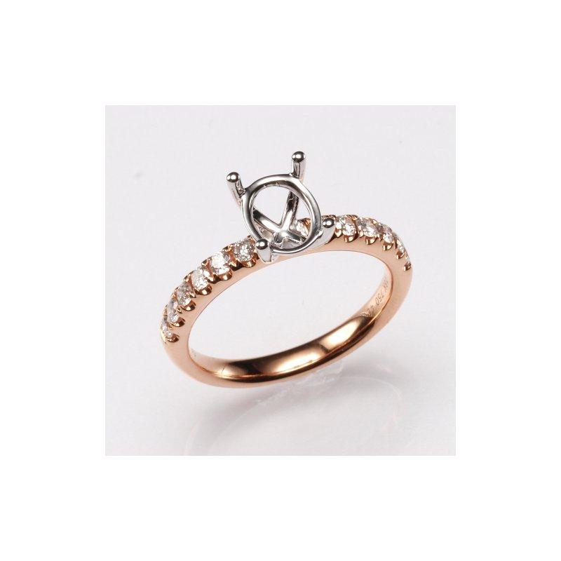 18K Rose Gold .39Ctw Diamond Mounting