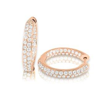 14K Gold & Diamond Pave Hoop Earrings
