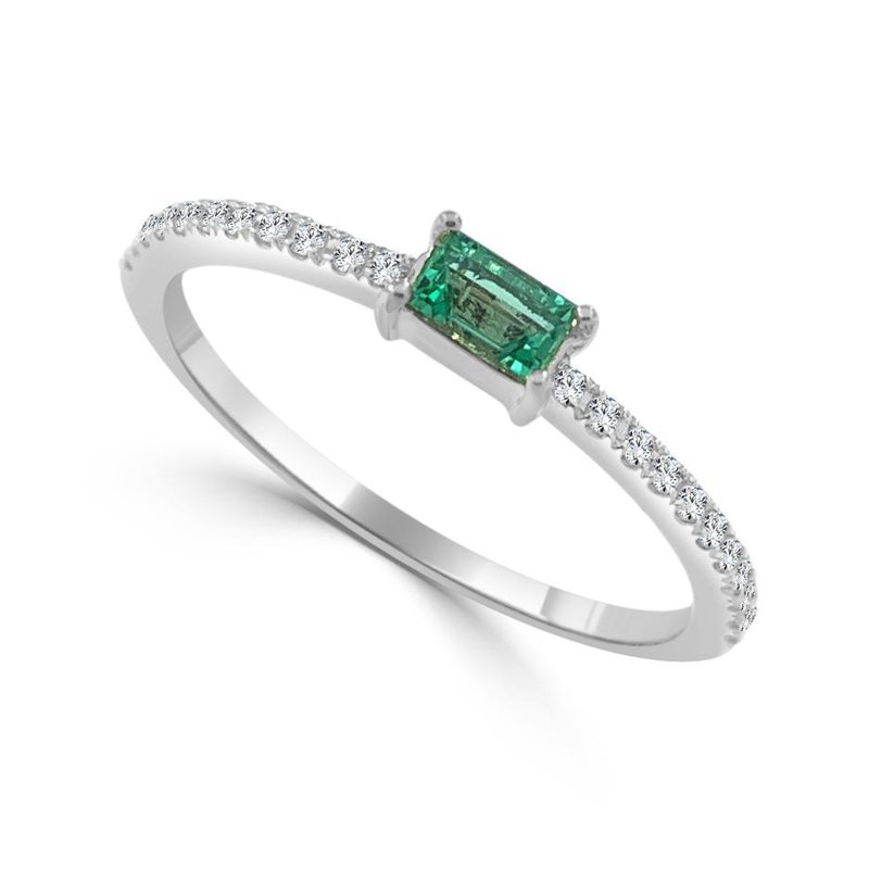 14K Gold Emerald And Diamond Band