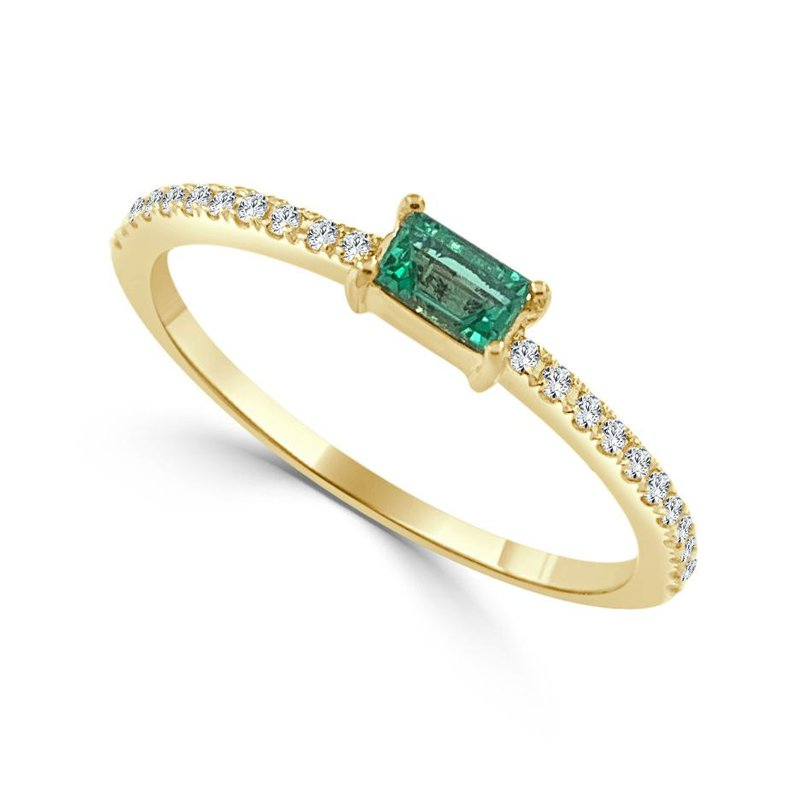 14K Gold Emerald And Diamond Band