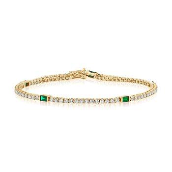14K Gold Diamond & Emerald Tennis Bracelet
