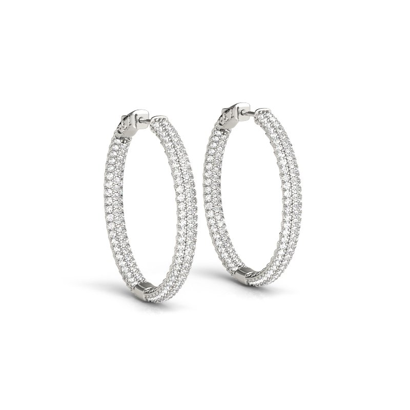 Pave Inside Out Hoop Earring