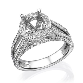 Platinum Split Band Halo Engagement Ring