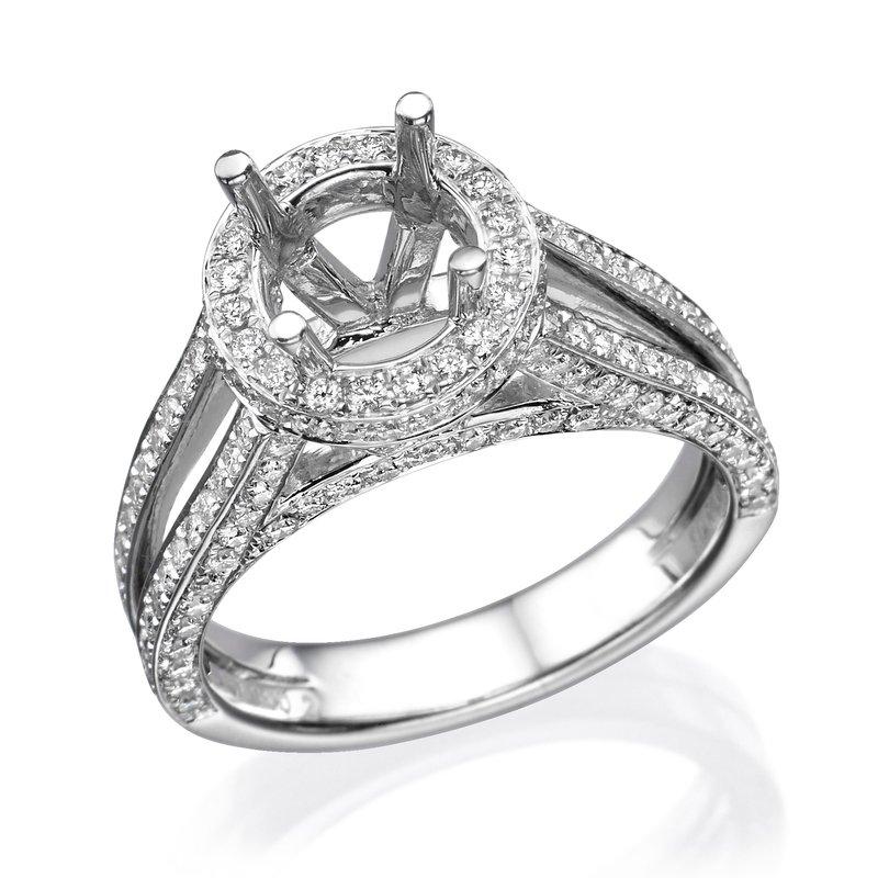 Platinum Split Band Halo Engagement Ring
