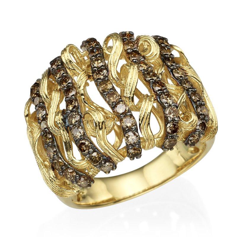 14K Yellow Gold Modern Brown Diamond Ring