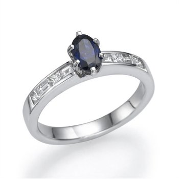 Plat Sapphire And Diamond Fashion Ring