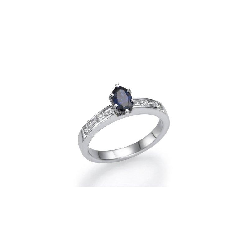 Plat Sapphire And Diamond Fashion Ring