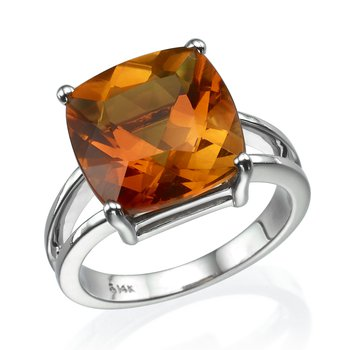 14K White Gold 6.41Ct Citrine Ring