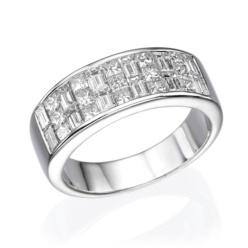 18K White Gold Princess And Baguette Fashion Ring