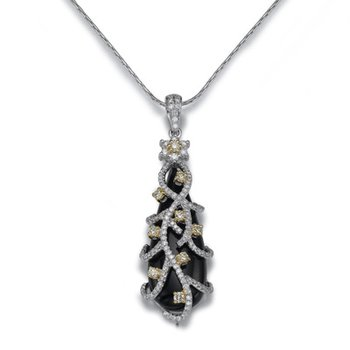 18K White Gold Black Onyx And Diamond Pendant