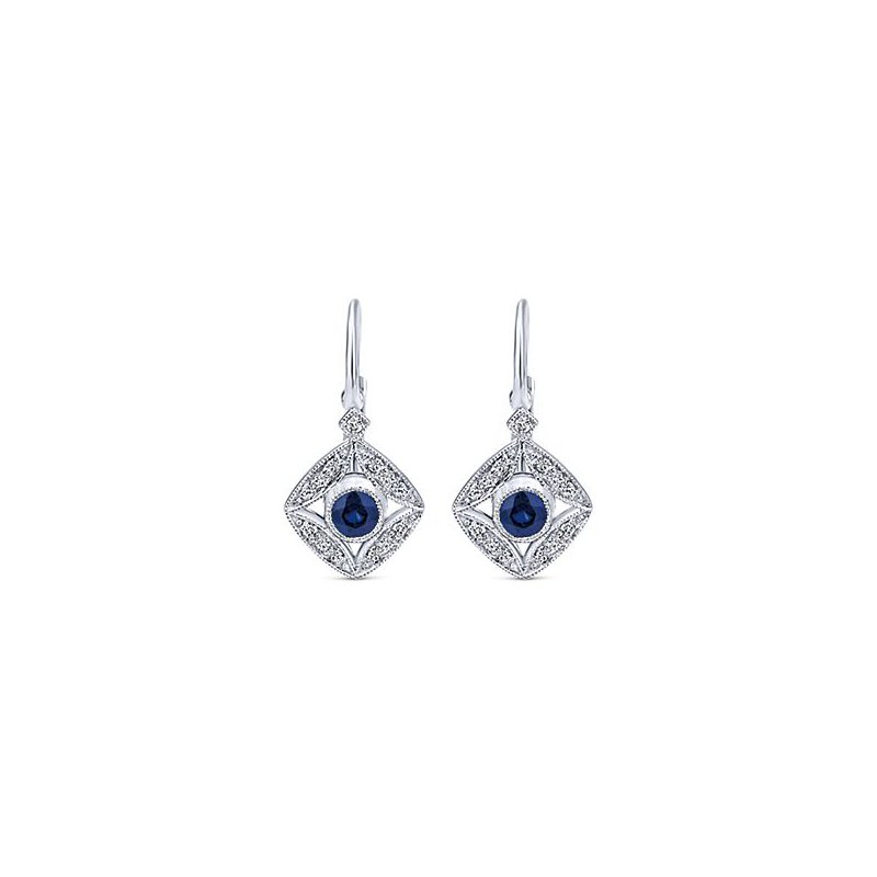 14K White Gold Diamond and Sapphire Vintage Earrings