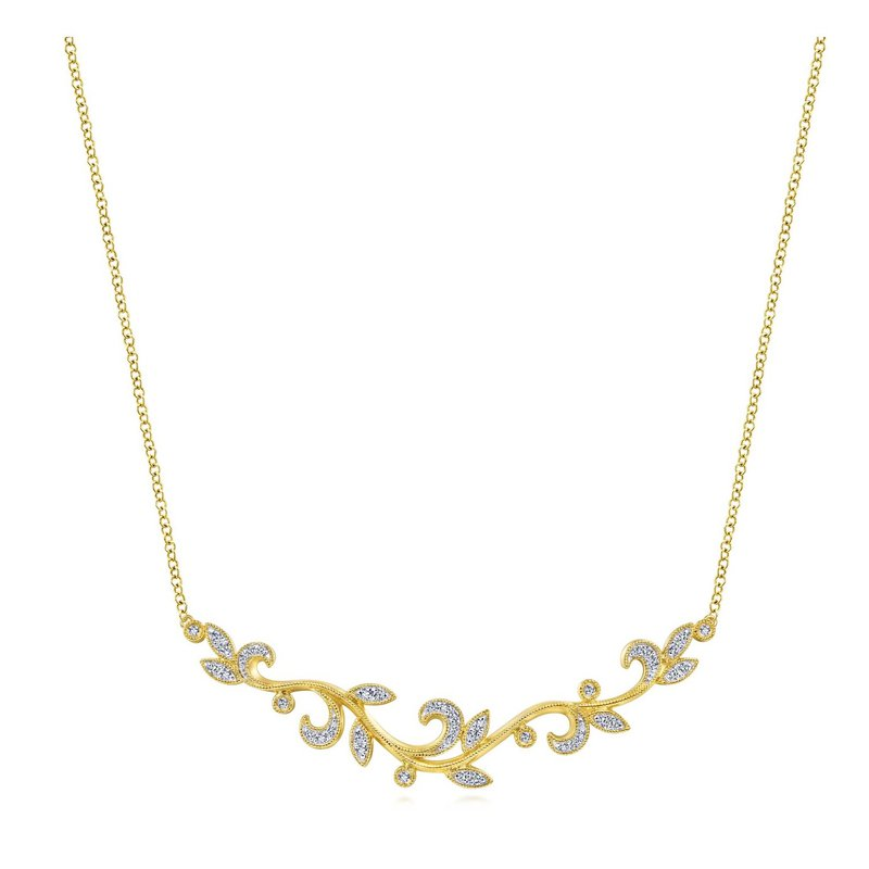 14K Yellow Gold Leaf Diamond Bar Necklace