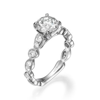 18K White Gold Scalloped Filigree Engagement Ring Mounting