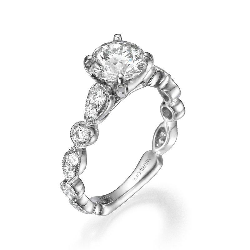 18K White Gold Scalloped Filigree Engagement Ring Mounting