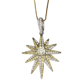 Yellow And White Diamond Star Pendant