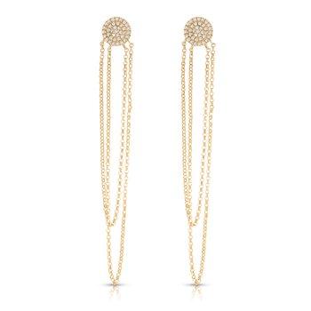 14K Diamond And Dangle Earrings