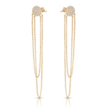 14K Diamond And Dangle Earrings